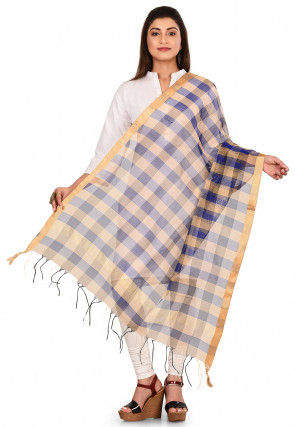 Woven Noil Silk Dupatta in Navy Blue and Multicolor