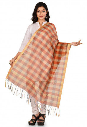 Woven Noil Silk Dupatta in Orange and Multicolor