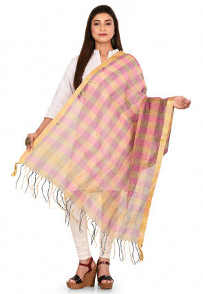 Woven Noil Silk Dupatta in Pink and Multicolor