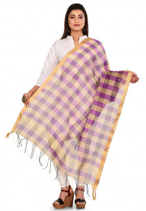 Woven Noil Silk Dupatta in Purple and Multicolor