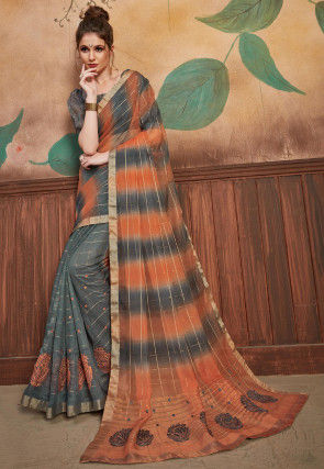 Woven Organza Saree in Grey and Orange