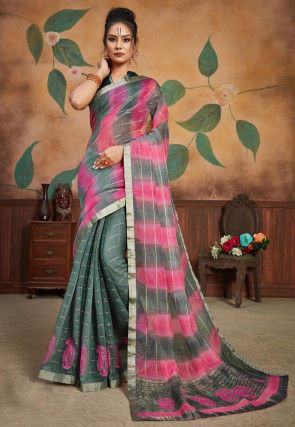 Woven Organza Saree in Grey and Pink