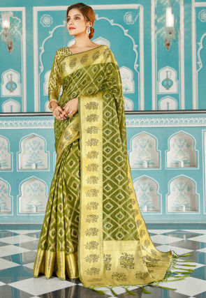 Woven Organza Saree in Olive Green