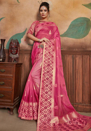 Woven Organza Saree in Pink