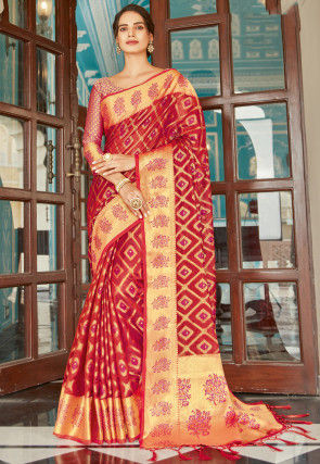Woven Organza Saree in Red