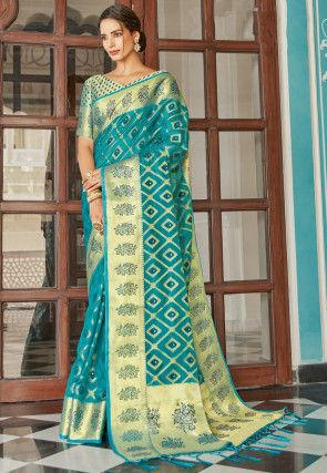 Woven Organza Saree in Teal Blue