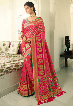Woven Patola Silk Saree in Pink