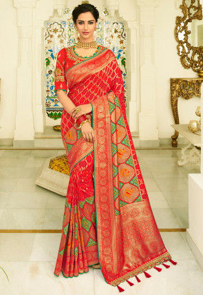Woven Patola Silk Saree in Red