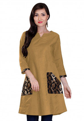 Woven Pocket Cotton Silk Tunic in Beige