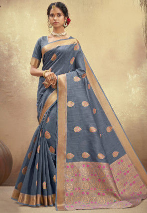 Woven Poly Cotton Saree in Grey