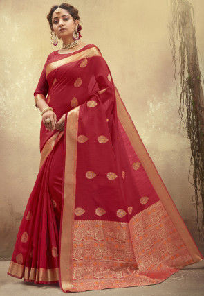 Woven Poly Cotton Saree in Maroon