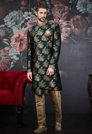 Woven Polyester Jacquard Asymmetric Sherwani in Dark Green