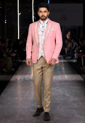 Woven Polyester Three piece Tuxedo Set in Pink