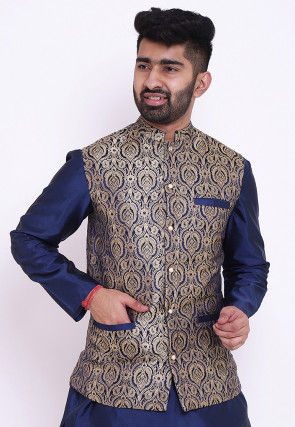 Woven Pure Banarasi Brocade Nehru Jacket in Navy Blue and Beige