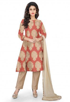 Woven Pure Banarasi Silk Pakistani Suit in Peach