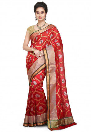 Pure Chanderi Silk Handloom Saree in Red