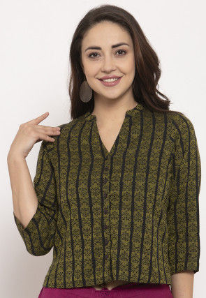 Woven Pure Cotton Jacquard Top in Olive Green