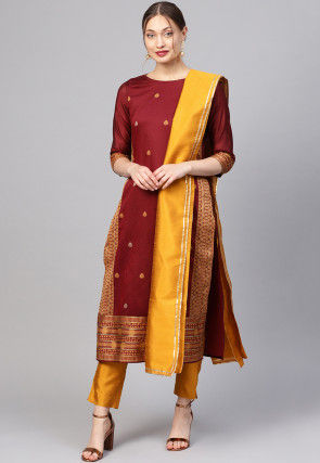 Woven Pure Cotton Pakistani Suit in Maroon