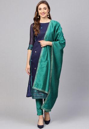 Woven Pure Cotton Pakistani Suit in Navy Blue