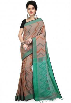 Woven Pure Cotton Saree in Light Brown and Turquoise