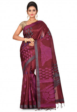 Woven Pure Kanchipuram Dupion Silk Saree in Maroon