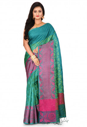 Woven Pure Kanchipuram Dupion Silk Saree in Teal Green