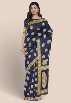 Pure Katan Silk Woven Saree in Navy Blue