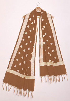 Woven Pure Kota Silk Dupatta in Brown