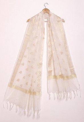Woven Pure Kota Silk Dupatta in Off White