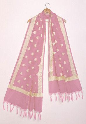 Woven Pure Kota Silk Dupatta in Pastel Pink