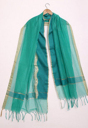 Woven Pure Kota Silk Dupatta in Shaded Teal Green