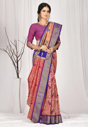 Woven Pure Paithani Silk Saree in Red and Golden