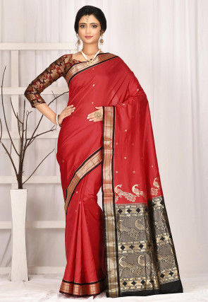 Woven Pure Paithani Silk Saree in Red