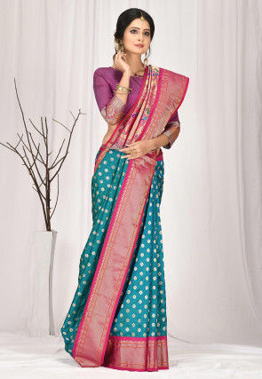 Woven Pure Paithani Silk Saree in Teal Blue