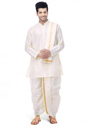 Woven Pure Silk Dhoti with Kurta in Cream