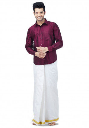 Woven Pure Silk Dhoti with Shirt in Maroon