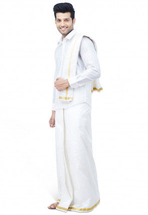 Woven Pure Silk Dhoti with Shirt in White