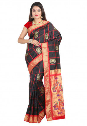 Woven Pure Silk Saree in Black and Red
