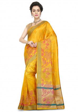 Woven Pure Silk Saree in Mustard