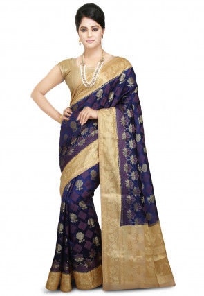 Woven Pure Silk Saree in Navy Blue