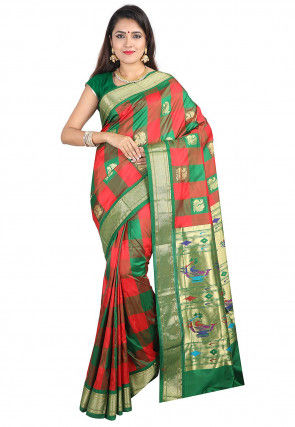 Woven Pure Silk Saree in Red and Green