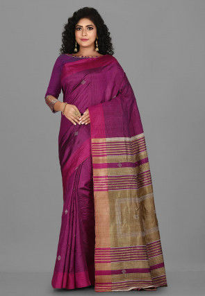 Woven Pure Tussar Silk Saree in Dark Magenta