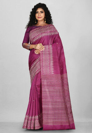 Woven Pure Tussar Silk Saree in Dark Pink