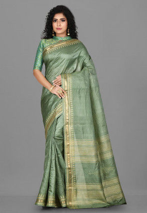 Woven Pure Tussar Silk Saree in Light Green