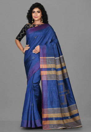 Woven Pure Tussar Silk Saree in Navy Blue