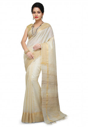 Woven Pure Tussar Silk Saree in Off White