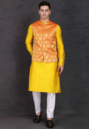 Woven Raw Silk Kurta Jacket Set in Yellow and Orange