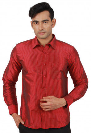 Woven Raw Silk Shirt in Red
