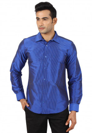 Woven Raw Silk Shirt in Royal Blue