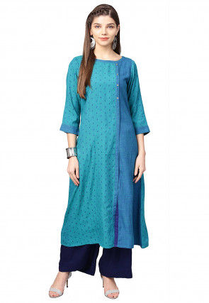 Woven Rayon Cotton A Line Kurta in Teal Blue